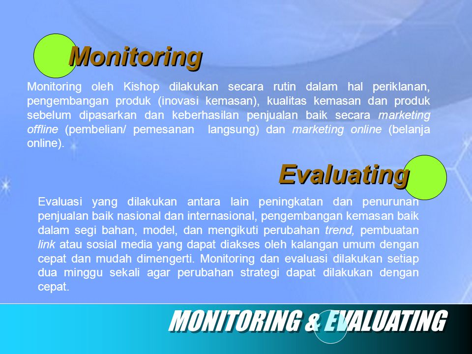 MONITORING & EVALUATING