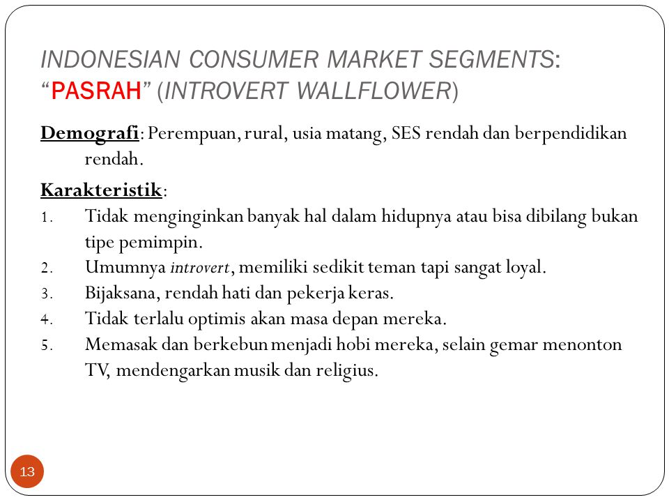 INDONESIAN CONSUMER MARKET SEGMENTS: PASRAH (INTROVERT WALLFLOWER)
