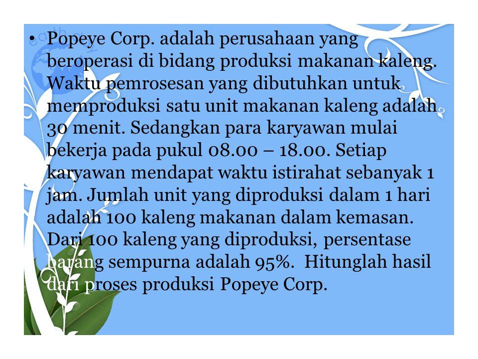 Popeye Corp. adalah perusahaan yang beroperasi di bidang produksi makanan kaleng.