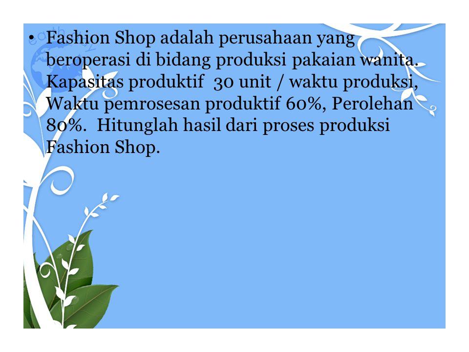 Fashion Shop adalah perusahaan yang beroperasi di bidang produksi pakaian wanita.