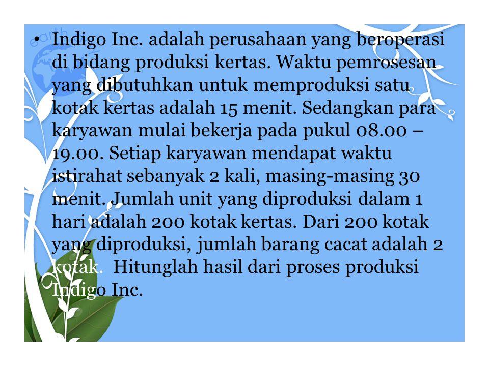 Indigo Inc. adalah perusahaan yang beroperasi di bidang produksi kertas.