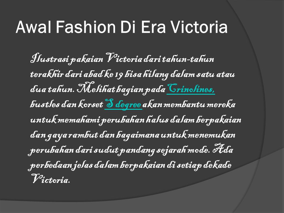 Awal Fashion Di Era Victoria