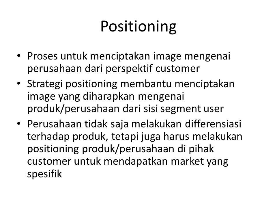 Positioning Proses untuk menciptakan image mengenai perusahaan dari perspektif customer.