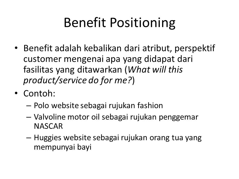 Benefit Positioning