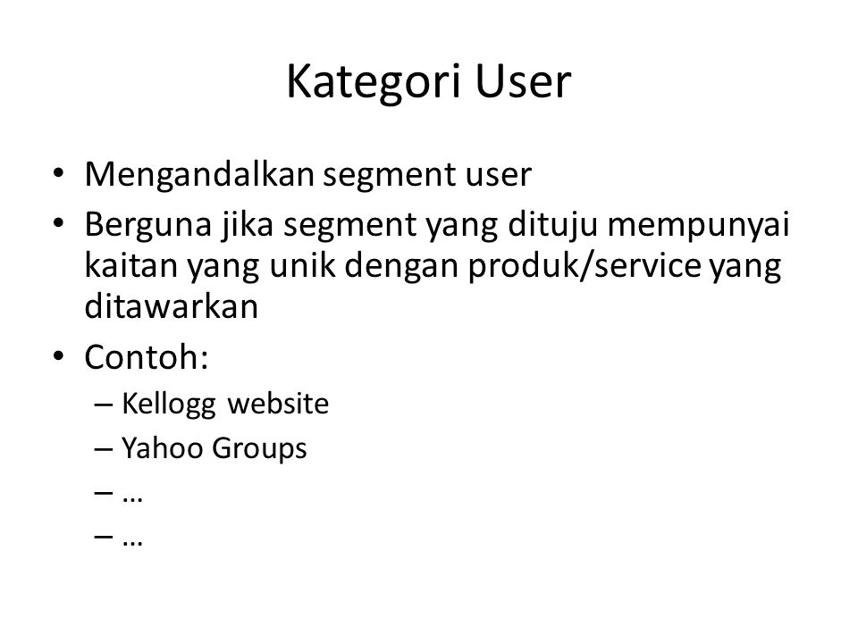 Kategori User Mengandalkan segment user