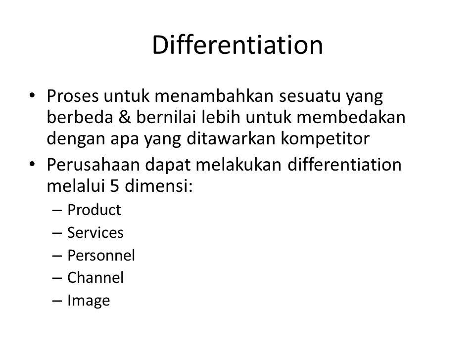 Differentiation Proses untuk menambahkan sesuatu yang berbeda & bernilai lebih untuk membedakan dengan apa yang ditawarkan kompetitor.
