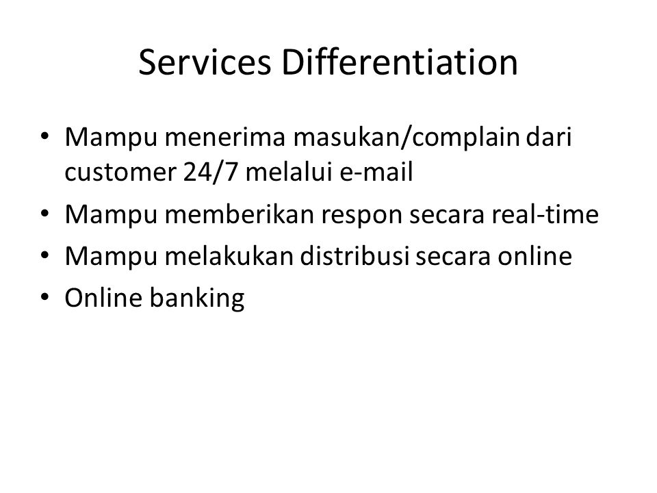 Services Differentiation