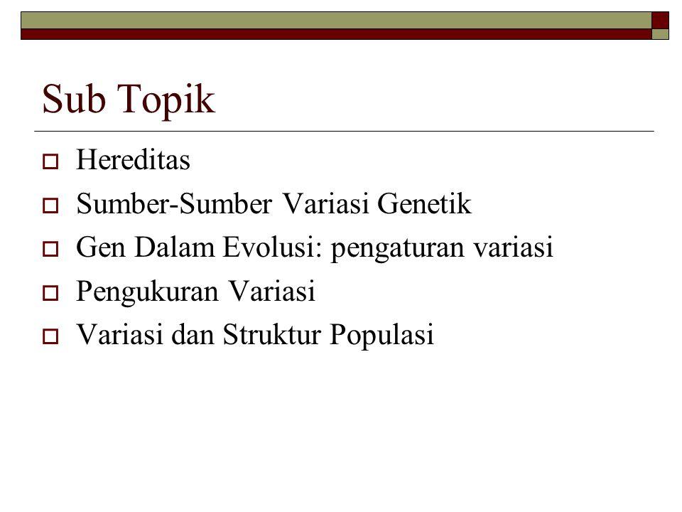 Sub Topik Hereditas Sumber-Sumber Variasi Genetik
