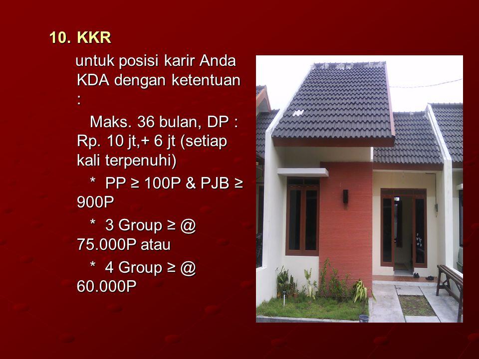 KKR untuk posisi karir Anda KDA dengan ketentuan : Maks. 36 bulan, DP : Rp. 10 jt,+ 6 jt (setiap kali terpenuhi)
