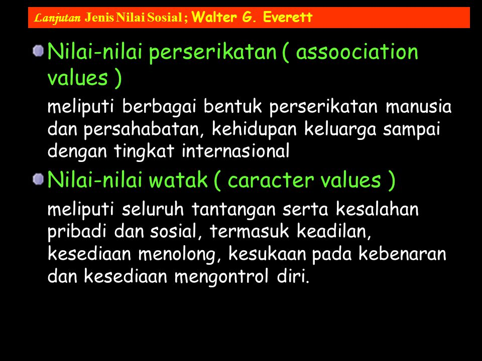 Nilai-nilai perserikatan ( assoociation values )