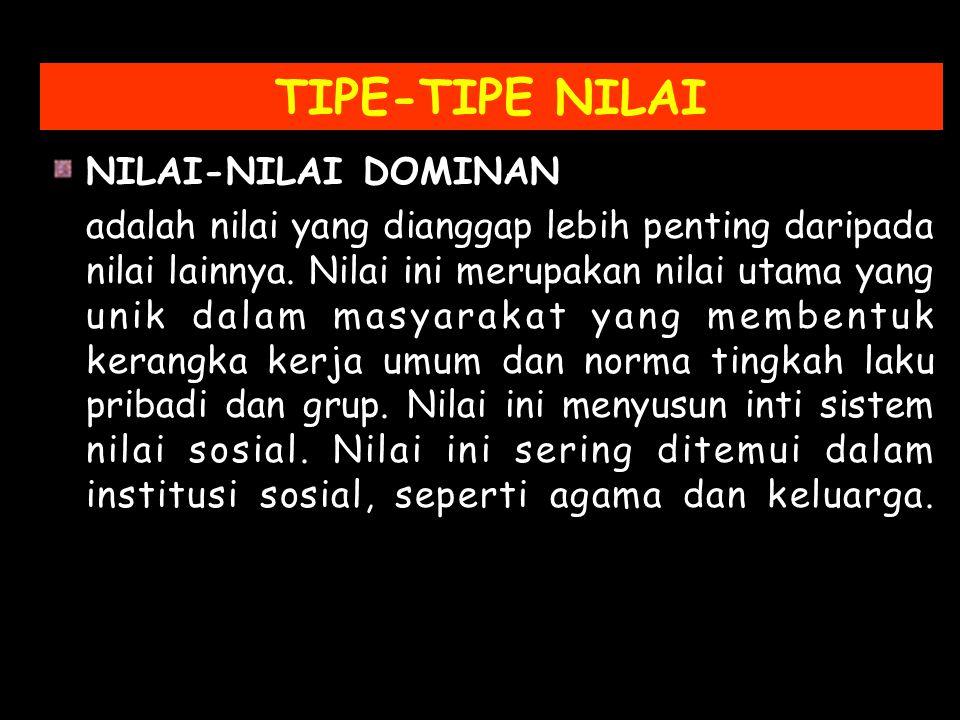 TIPE-TIPE NILAI NILAI-NILAI DOMINAN