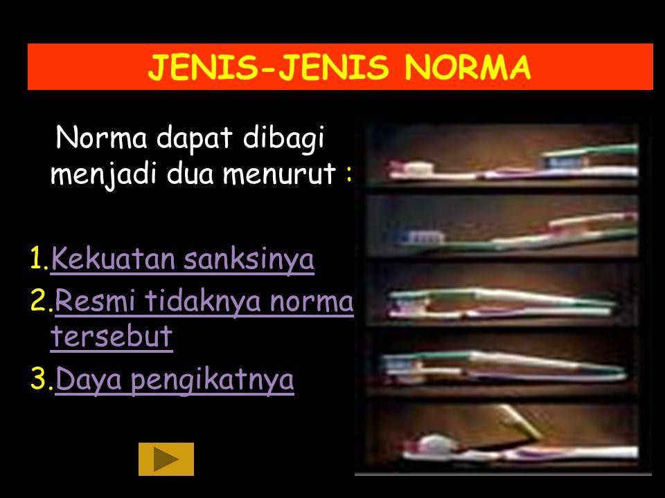 JENIS-JENIS NORMA Norma dapat dibagi menjadi dua menurut :