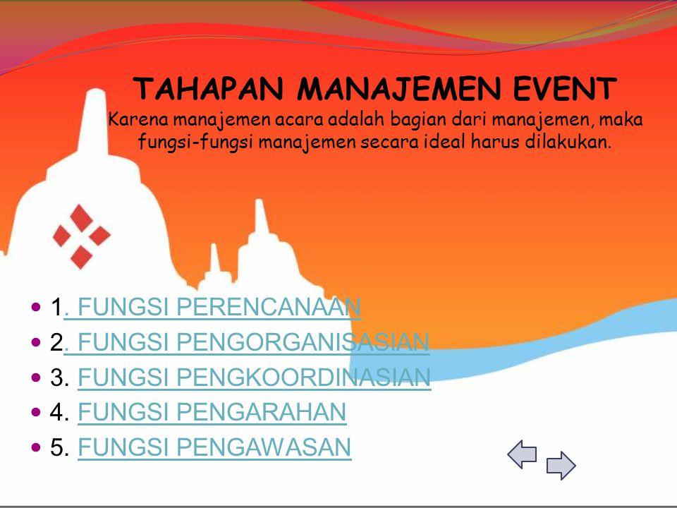 TAHAPAN MANAJEMEN EVENT Karena manajemen acara adalah bagian dari manajemen, maka fungsi-fungsi manajemen secara ideal harus dilakukan.