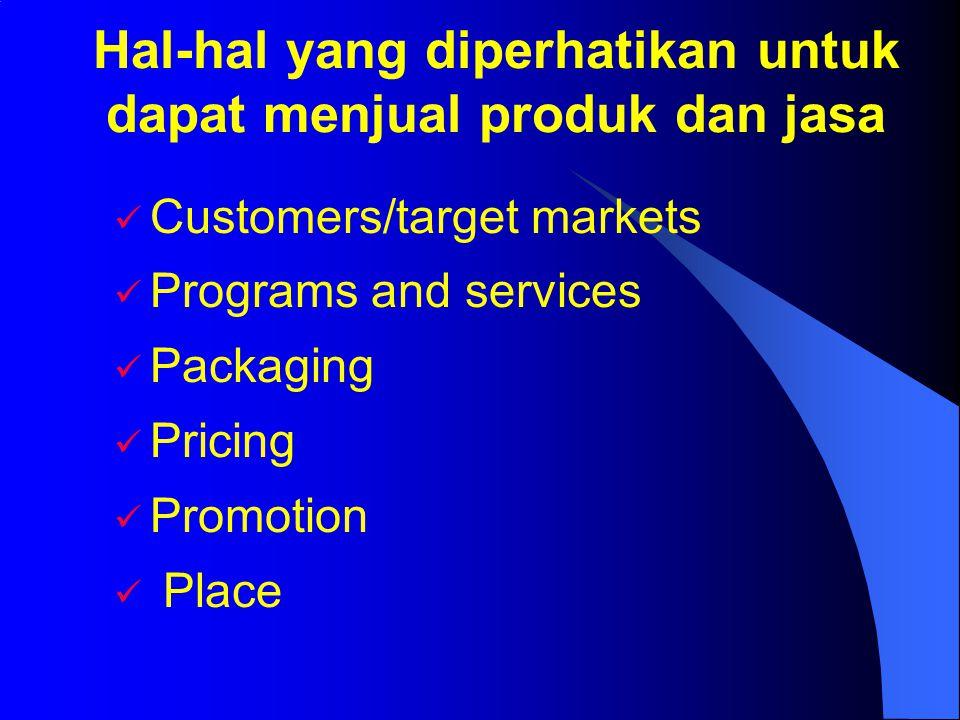 Hal-hal yang diperhatikan untuk dapat menjual produk dan jasa