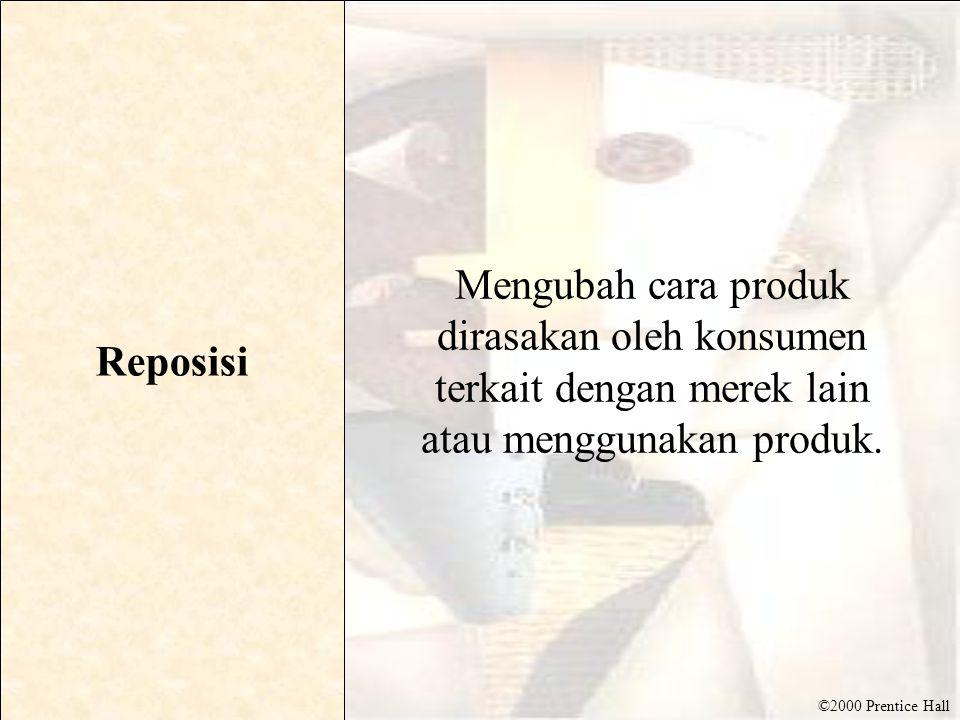 Reposisi Mengubah cara produk dirasakan oleh konsumen terkait dengan merek lain atau menggunakan produk.