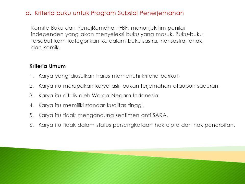 Kriteria buku untuk Program Subsidi Penerjemahan