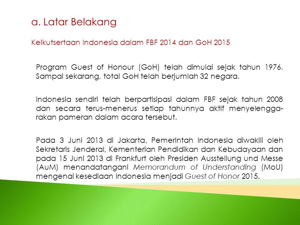a. Latar Belakang Keikutsertaan Indonesia dalam FBF 2014 dan GoH 2015