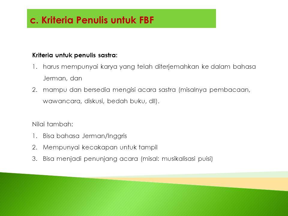 c. Kriteria Penulis untuk FBF