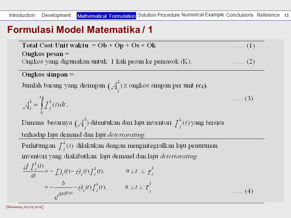 Formulasi Model Matematika / 1