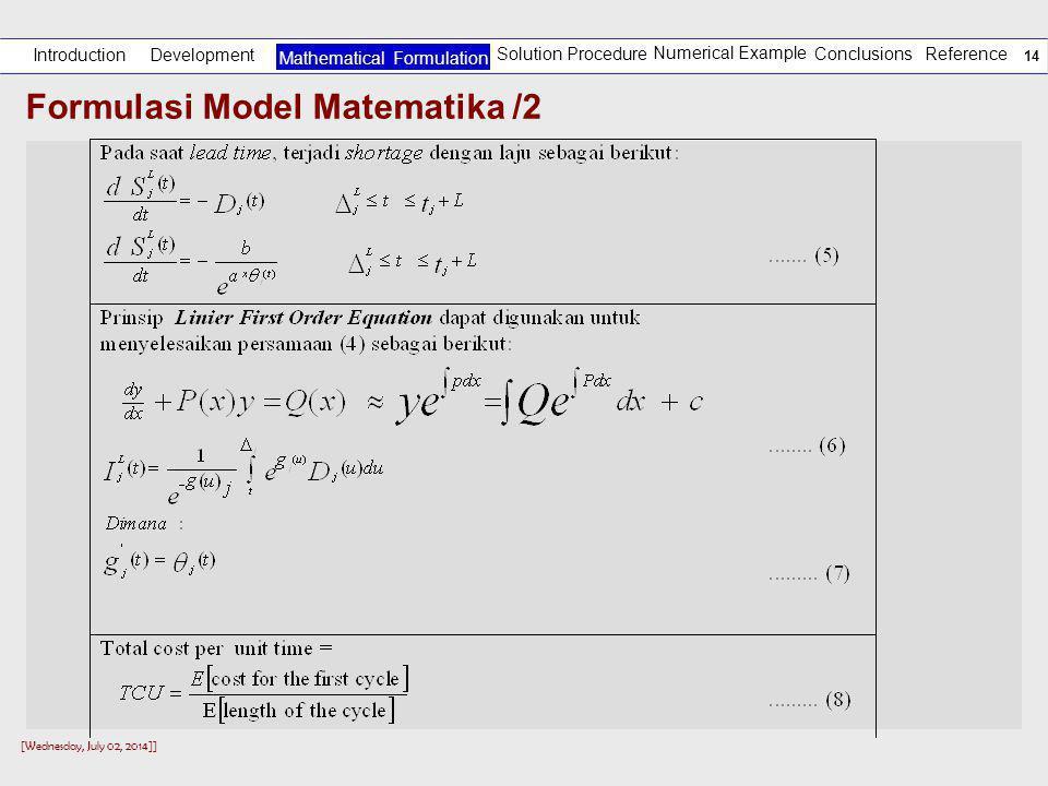 Formulasi Model Matematika /2