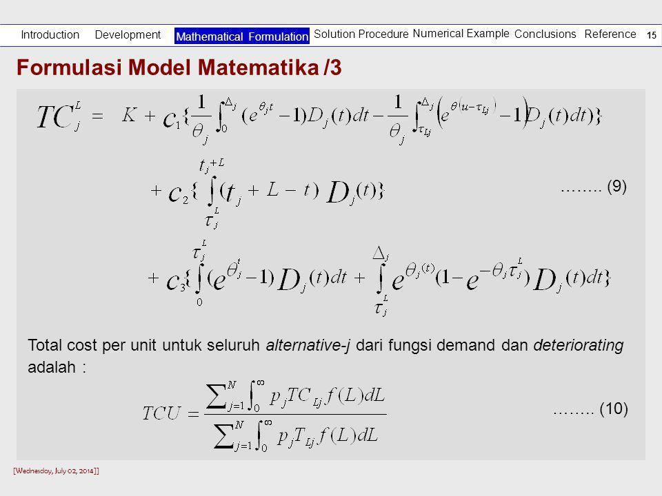 Formulasi Model Matematika /3