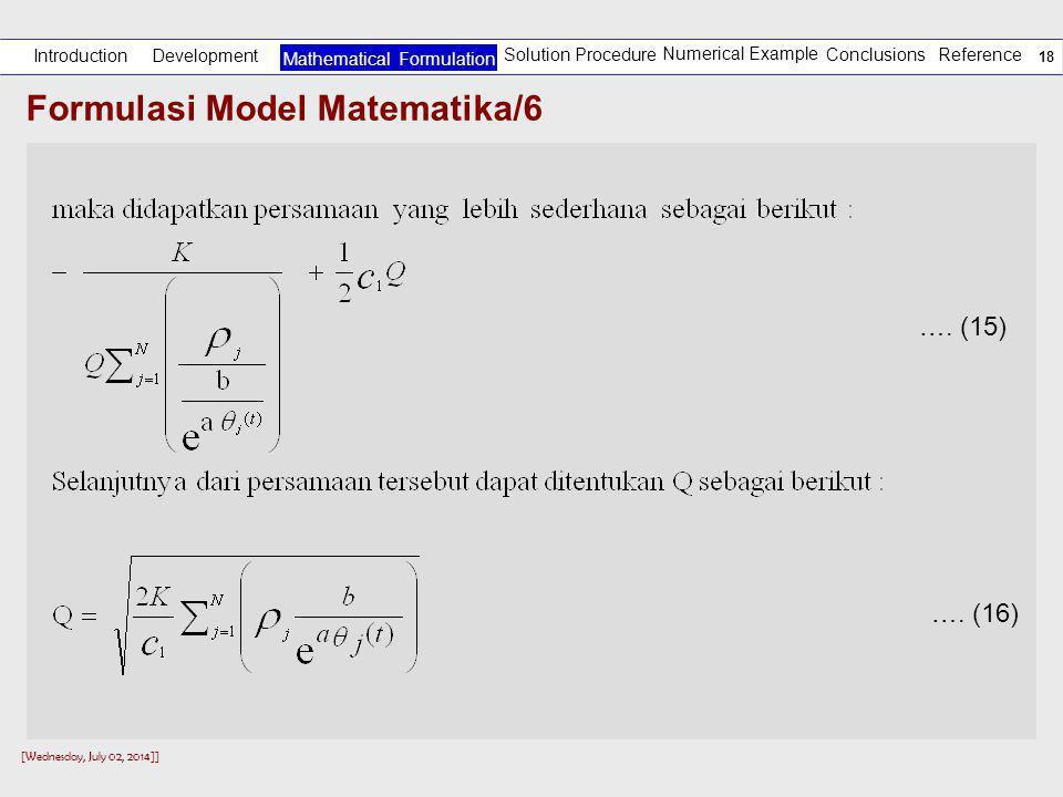 Formulasi Model Matematika/6
