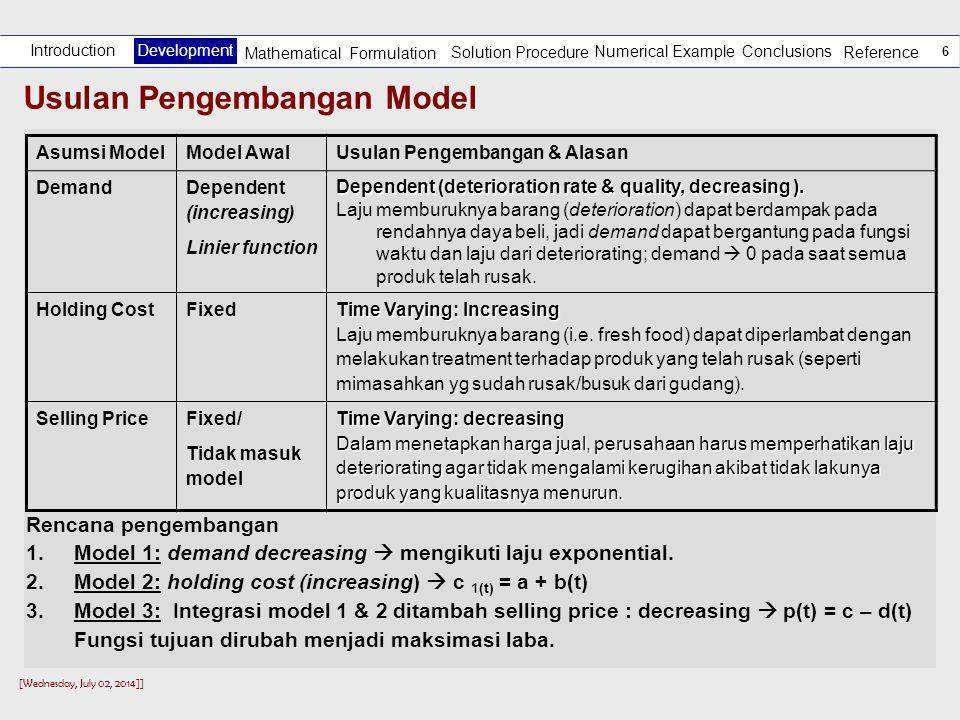 Usulan Pengembangan Model