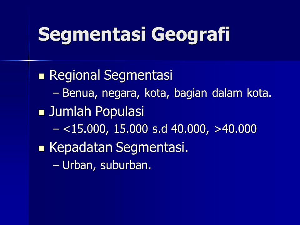 Segmentasi Geografi Regional Segmentasi Jumlah Populasi