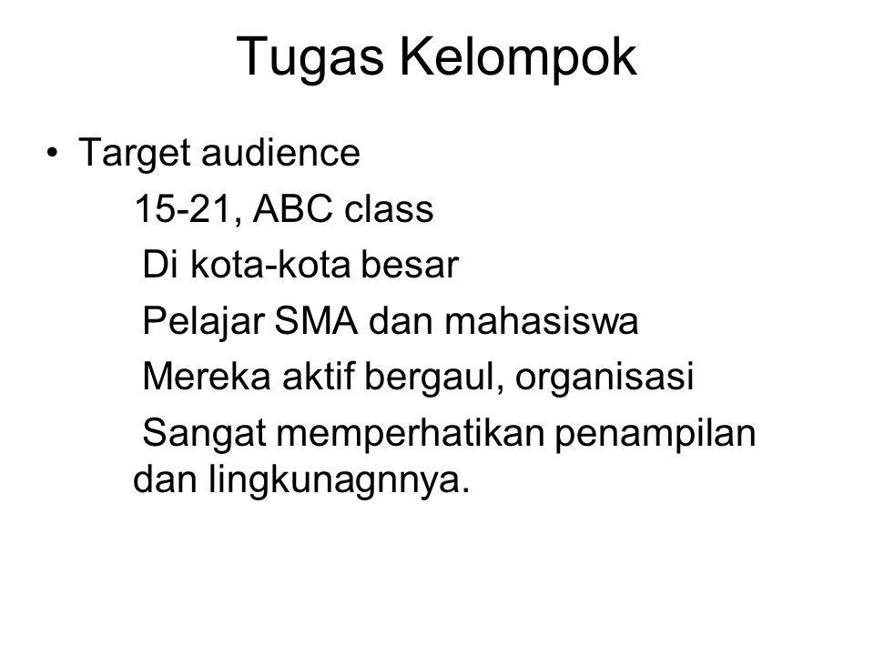 Tugas Kelompok Target audience 15-21, ABC class Di kota-kota besar