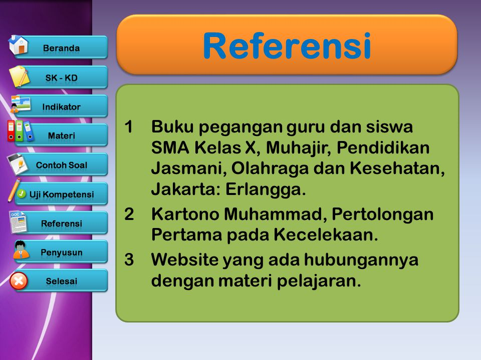 Referensi Buku pegangan guru dan siswa SMA Kelas X, Muhajir, Pendidikan Jasmani, Olahraga dan Kesehatan, Jakarta: Erlangga.