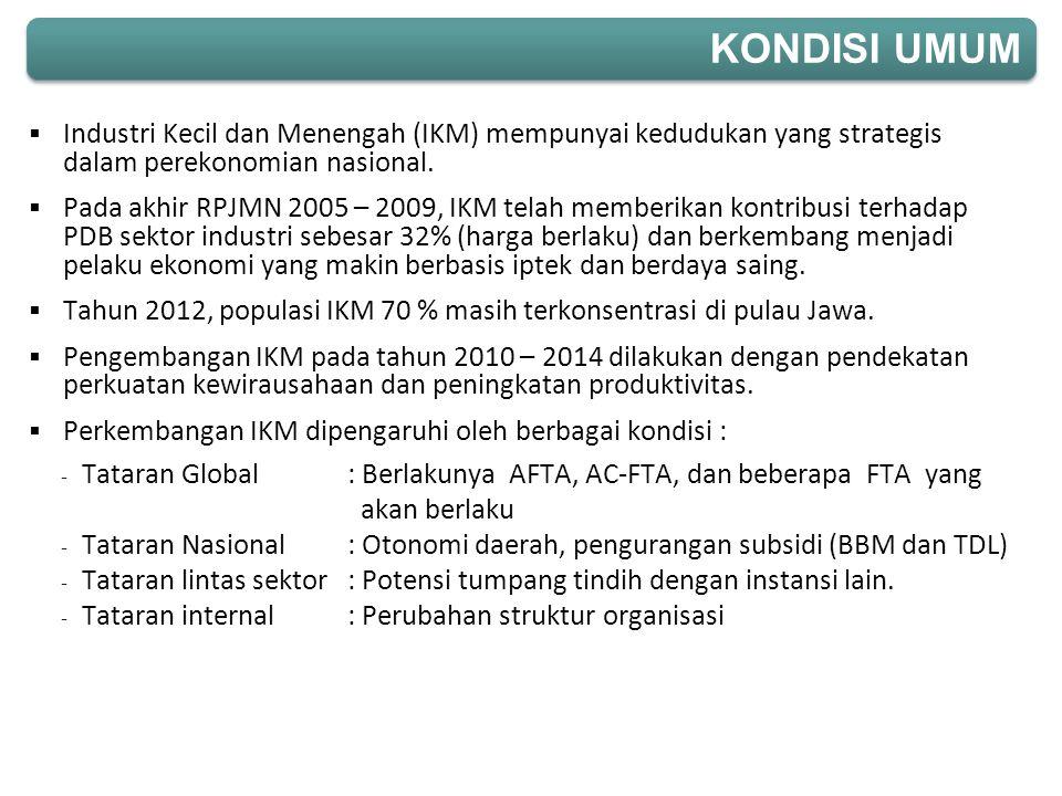 KONDISI UMUM Industri Kecil dan Menengah (IKM) mempunyai kedudukan yang strategis dalam perekonomian nasional.