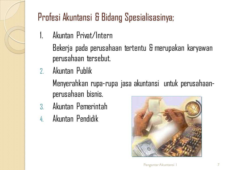 Profesi Akuntansi & Bidang Spesialisasinya;