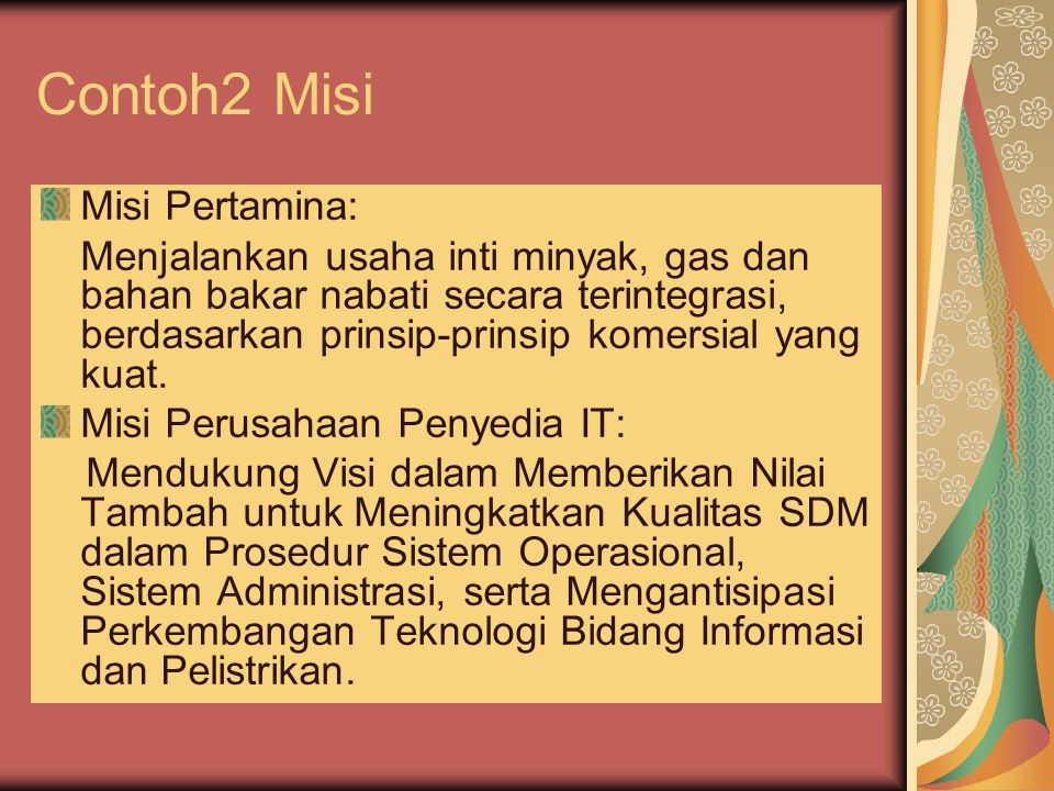 Contoh2 Misi Misi Pertamina: