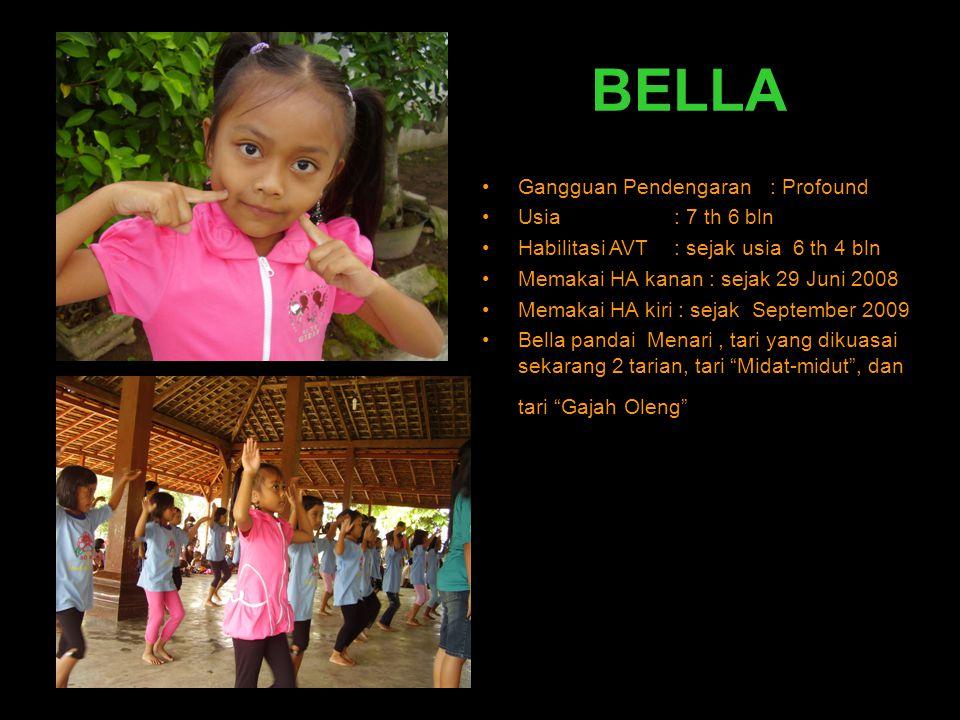 BELLA Gangguan Pendengaran : Profound Usia : 7 th 6 bln