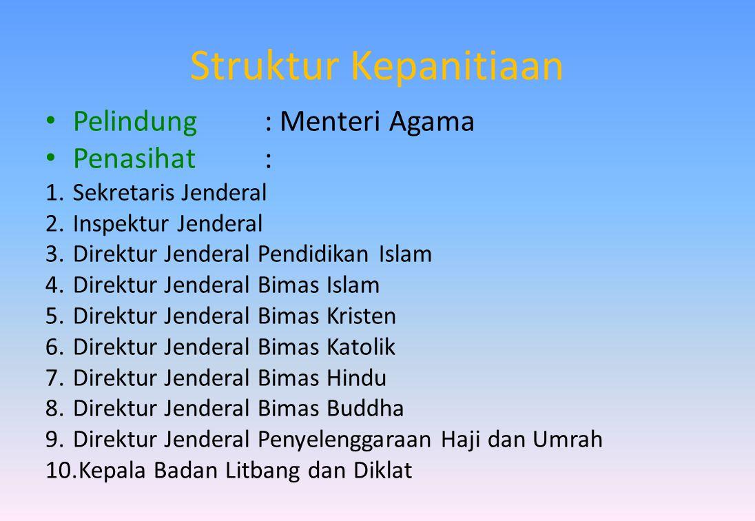 Struktur Kepanitiaan Pelindung : Menteri Agama Penasihat :