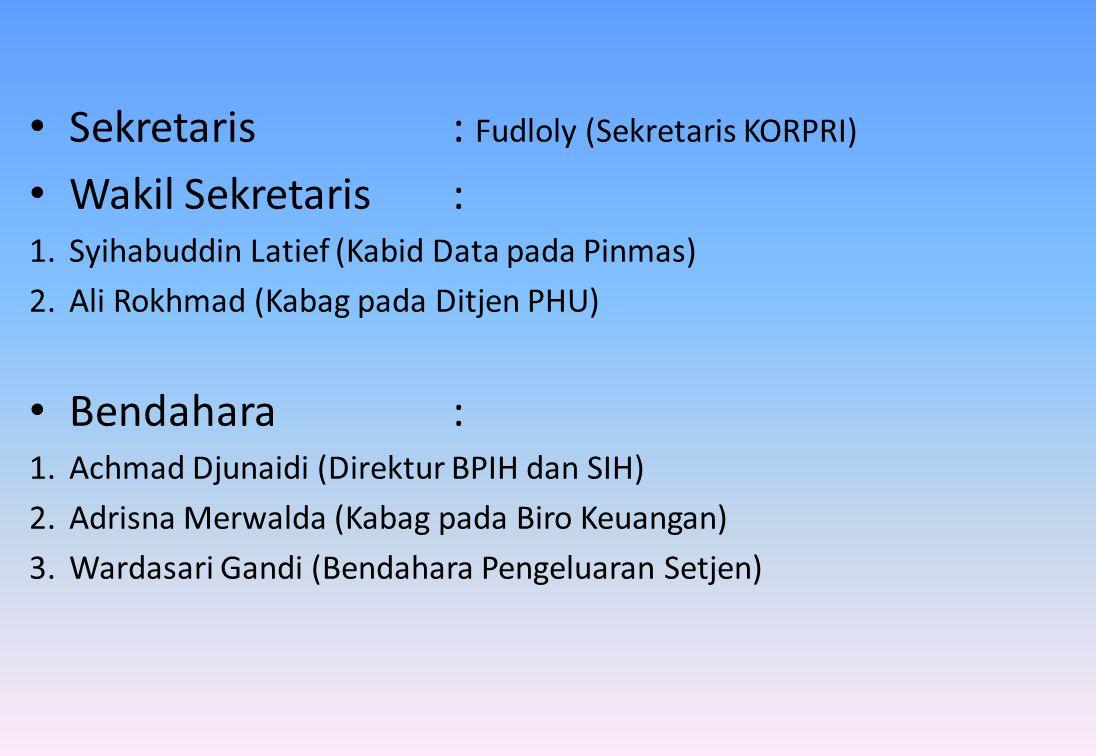 Sekretaris : Fudloly (Sekretaris KORPRI) Wakil Sekretaris :