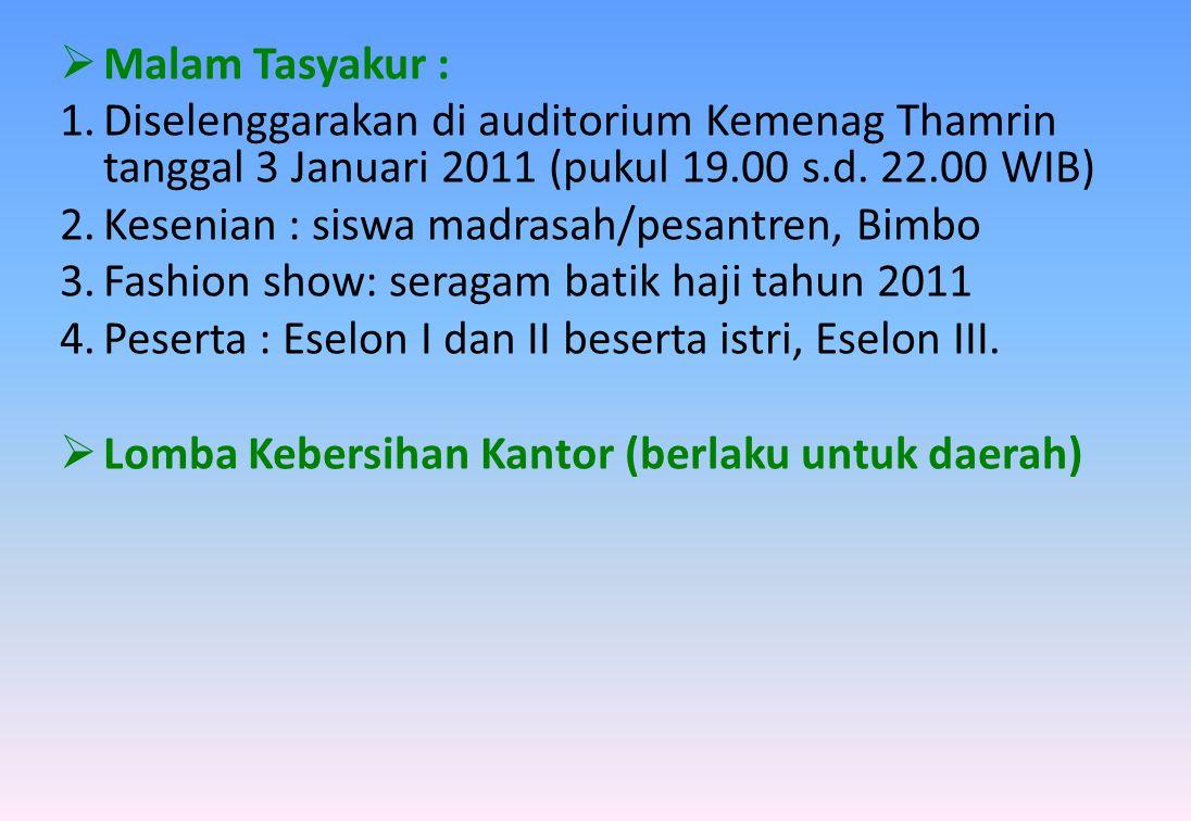 Malam Tasyakur : Diselenggarakan di auditorium Kemenag Thamrin tanggal 3 Januari 2011 (pukul 19.00 s.d. 22.00 WIB)