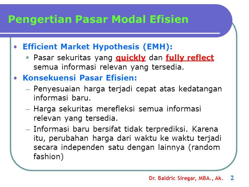Pengertian Pasar Modal Efisien