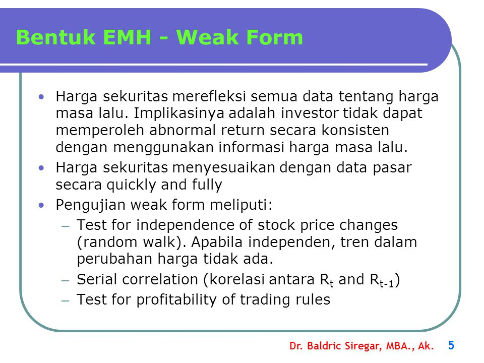 Bentuk EMH - Weak Form