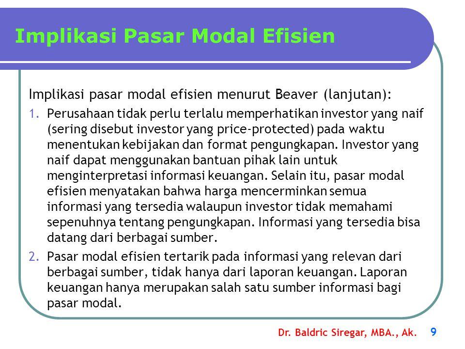 Implikasi Pasar Modal Efisien