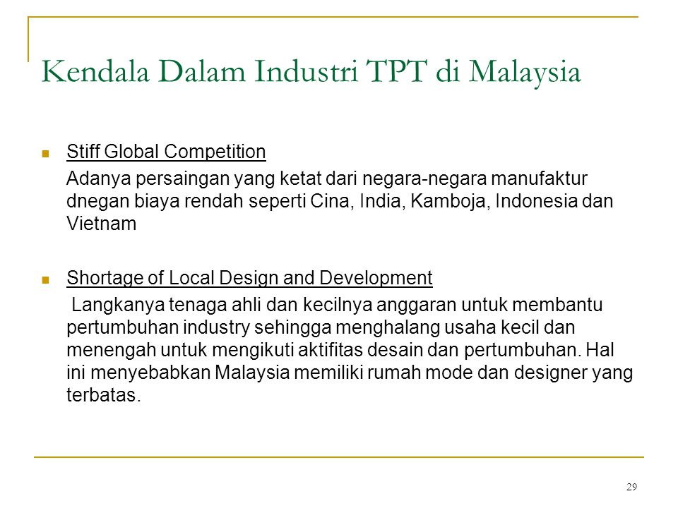 Kendala Dalam Industri TPT di Malaysia