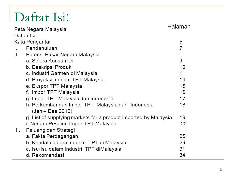 Daftar Isi: Halaman Peta Negara Malaysia Daftar Isi Kata Pengantar 5