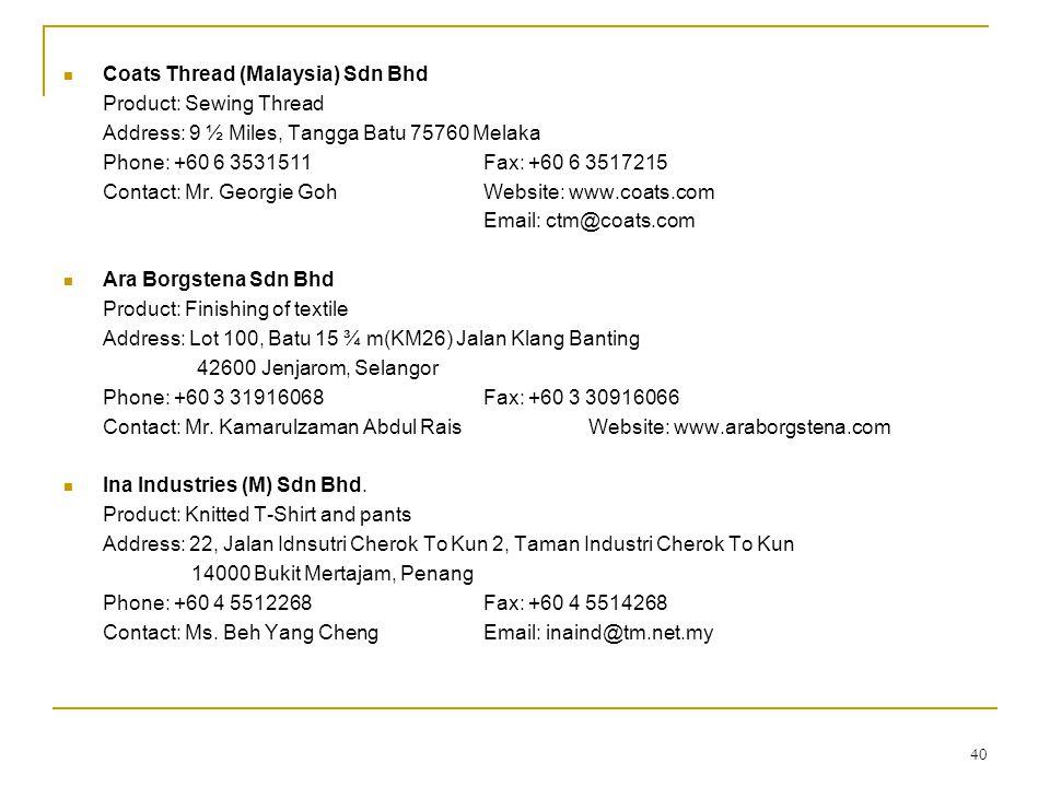 Coats Thread (Malaysia) Sdn Bhd