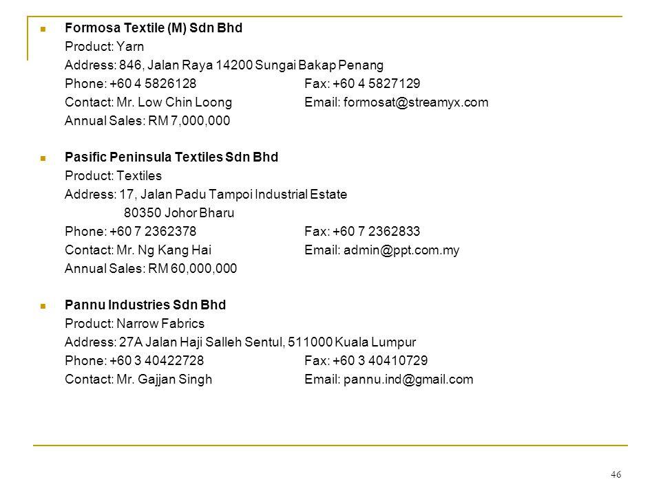 Formosa Textile (M) Sdn Bhd