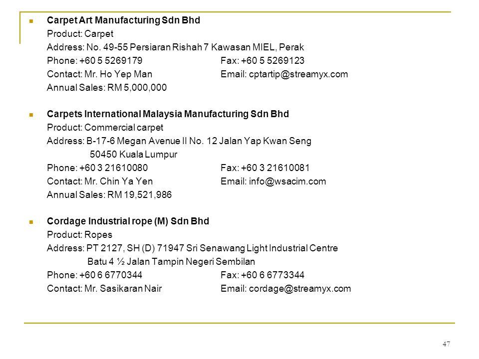 Carpet Art Manufacturing Sdn Bhd
