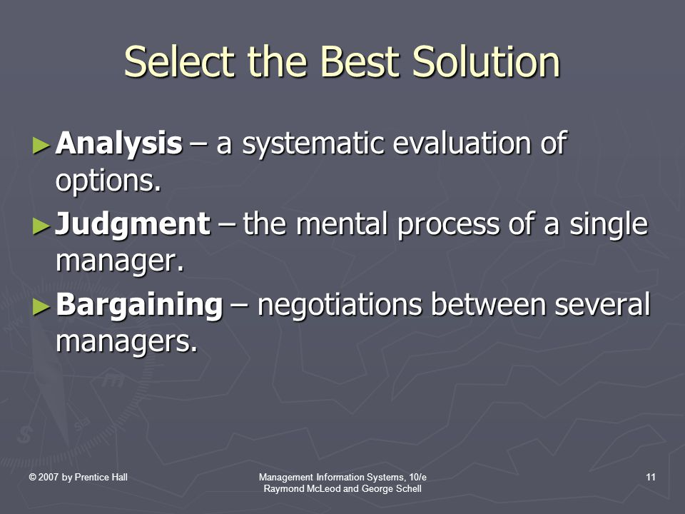 Select the Best Solution