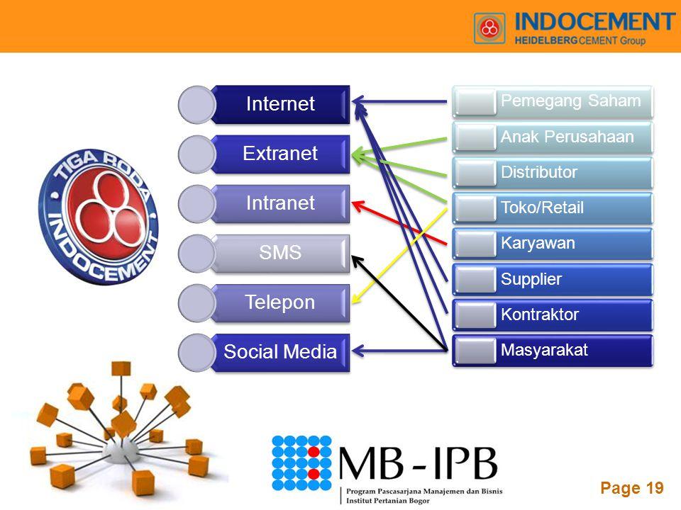 Internet Extranet. Intranet. SMS. Telepon. Social Media. Pemegang Saham. Anak Perusahaan. Distributor.