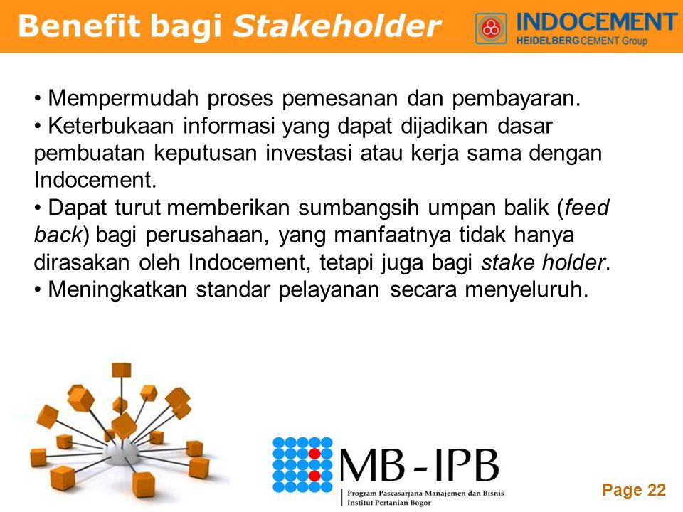 Benefit bagi Stakeholder