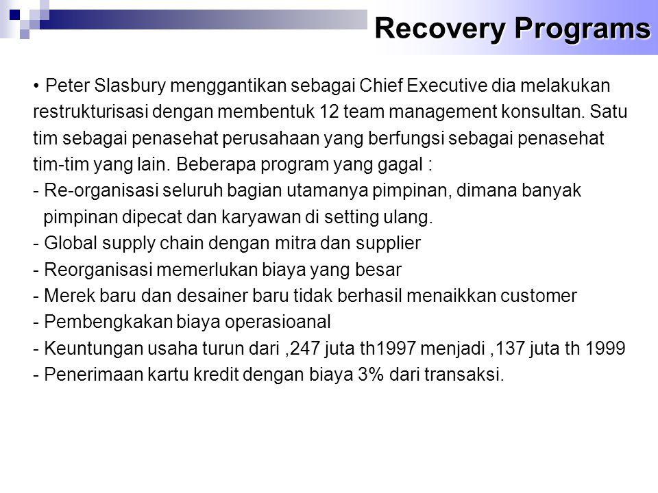Recovery Programs Peter Slasbury menggantikan sebagai Chief Executive dia melakukan.