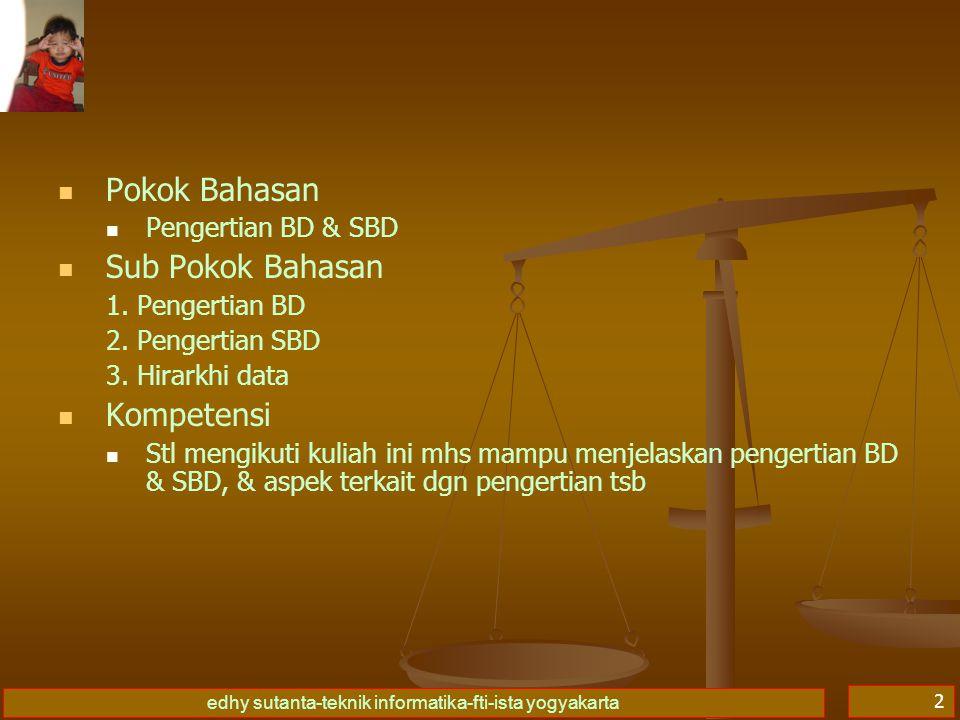 Pokok Bahasan Sub Pokok Bahasan Kompetensi Pengertian BD & SBD